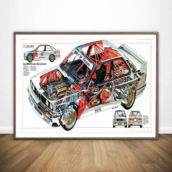 BMW - M3 E30 Series Super Racing Car War Wall Art Paint Wall Decor Canvas Prints Canvas Art Poster Oil Paintings No Frame