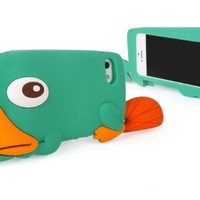 BYG New Arrival 3D Green Cartoon Duck/ Platypus Soft Silicone Case Cover Compatible For Apple Iphone 4/4s/4g + Gift 1pcs Phone Radiation Protection Sticker