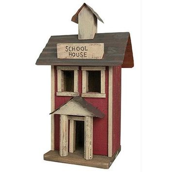 """Primitive Wooden Electric Lighted 14.5 """" School House w/Brown Cord light bulb"""