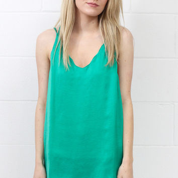 Strappy Satin Side Slit Tanks {Emerald}