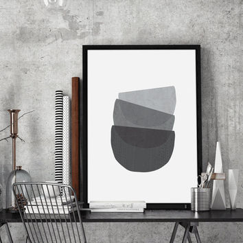 3 Bowls Geometric Print Wall Art | Grey Minimalist Poster | Large Printable Art