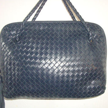 Free Ship vintage Talbots woven blue LEATHER shoulder satchel rope strap handle bAG  Purse handbag