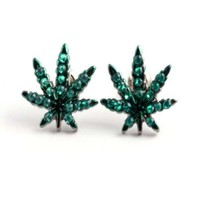 Black Hematite Finish Weed Marijuana Cannabis Green Cz Stud Earrings