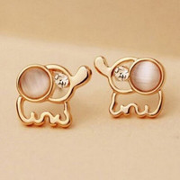 Cute Rhinestone Opal Elephant Shape Stud Earrings for Women Gift