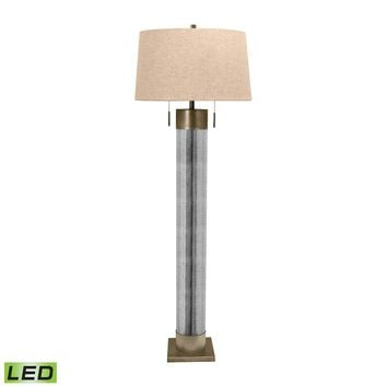 290-LED Mercury Glass Cylinder LED Floor Lamp With Antiqued Brass Accents