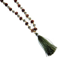 Olive Green and Gold, Long, Beaded Necklace with Tassle