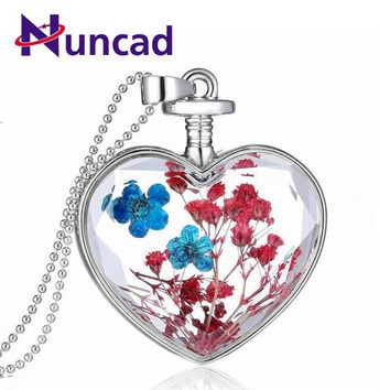 Dried Flower Necklace for Women Lovely Heart Shape Crystal Glass Pendant Necklace Jewelry Accessories 17 Designs