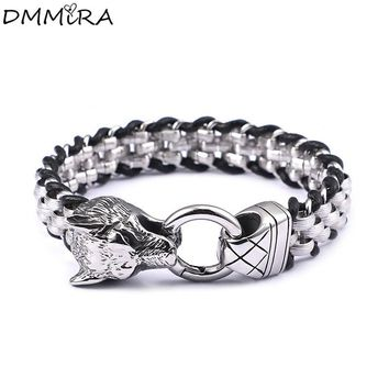 New Arrival Fashion Punk Weave Bracelet Stainless Steel Animal Retro Wolf Beaded Chain Cool Men Weave Leather Bracelets Jewelry