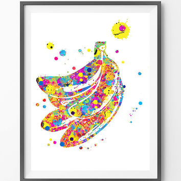 Bananas watercolor Print, Fruits art painting, bananas hand wall art giclee print, kitchen decor vertical print bananas cluster [NO162]