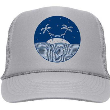 Palm Hammock Trucker Hat - Grey