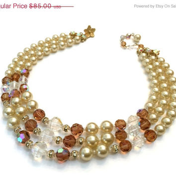 Vendome Faux Pearl and Crystal Necklace