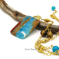 Blue lace chalcedony, jade and tigereye long necklace, tiger's eye, jade, chalcedony, large pendant necklace, by Dixie Dazzle, shop local TN
