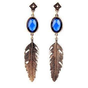 Casual Feather Pendant Faux Crystal Stud Earring