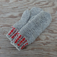 hand knitted wool mittens, knit gray adult mitts, warm winter gloves, women men hand warmers, handmade arm warmers, knitting mittens, mitts