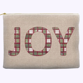 "Christmas Plaid ""JOY"" Zippered Cosmetic Bag"