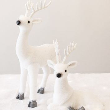 Set of 2 White Reindeer Christmas Decor