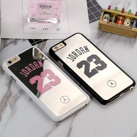 NBA Brand Michael Jordan 23 Cover For iPhone 6 6s Plus 5s SE PC Hard Plastic Mirror Case for iPhone 7 7Plus Covers Fundas Shell