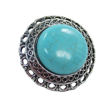 Vintage Design Aztec Western Chunky Round Turquoise Fashion Ring
