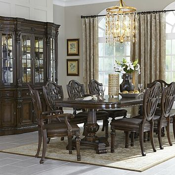 7 pc Chilton collection cherry finish wood double pedestal dining table set
