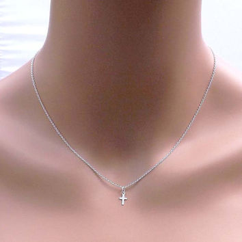 Tiny sterling silver cross from jewelrycraftstudio on etsy my tiny sterling silver cross necklace bridesmaidbestfriendwifegirlfriend mothers gift mozeypictures Choice Image