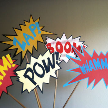 BATMAN FIGHTING action WORDS photo booth props