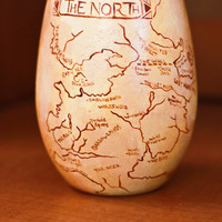 Game of Thrones Map of Westeros: Hand Painted Stemless Wine Glass Featuring the North and South