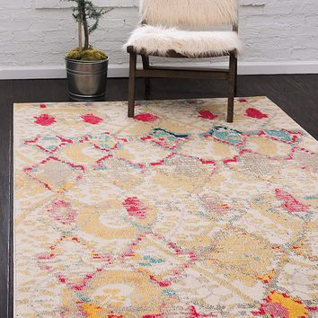 0168 Beige Tribal Design Contemporary Area Rugs