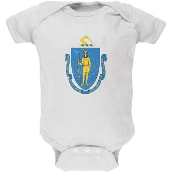 Born and Raised Massachusetts State Flag Soft Baby One Piece