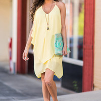 Drape Expectations Dress, Lemon