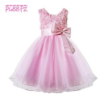 Retail European root yarn Flowers Pattern Elegant Girls Party Dress Lace Tiered Ruched Girls Prom Dress With Big Bow 5031