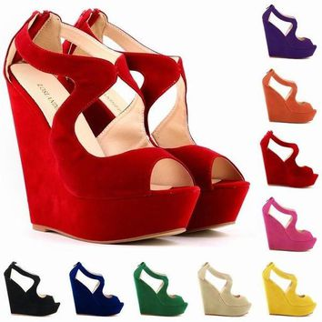 NEW ELEGANT LADIES PLATFORM PEEP TOE Velvet HIGH HEELS WEDGE SHOES SANDALS SIZE US4-1