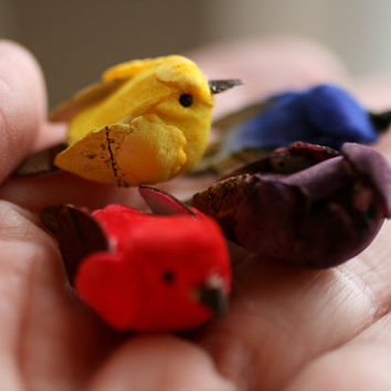 Set of 4 Tiny Colorful Birds, For Crafts, Bird Houses, Supplies.