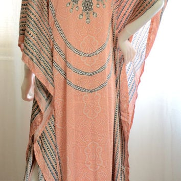 Long Kaftan dress embellished coral relaxed fit caftan non sheer