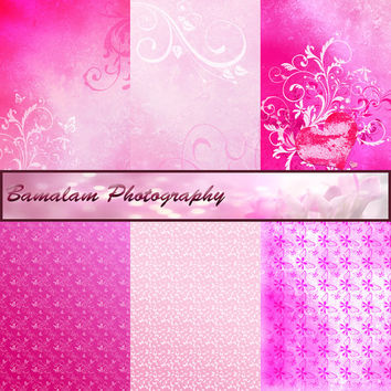 Pink Digital Paper, Scrapbook Backgrounds, Romantic Valentine Instant Download, Butterfly Floral Scrapbooking