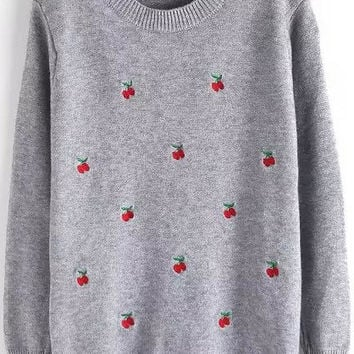 Grey Cherry Embroidered Sweater