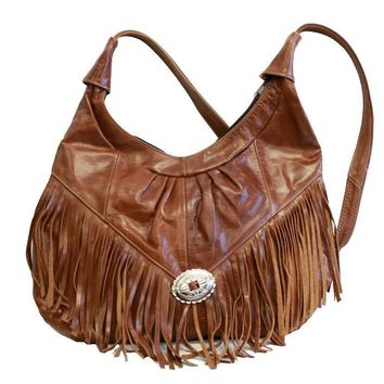 Womens Shoulder Handbag Fringe Hobo Bag Light Soft Genuine Leather Purse Brown