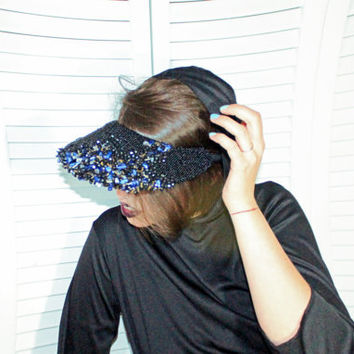 Beaded fashion visor, fashion kokoshnik, high fashion headdress