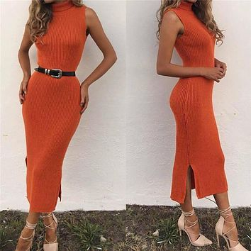 1 Pc Sexy Fitness Dress Women Sleeveless Knit Hem Split Slim Tight Pullover Bodycon Female Clothing