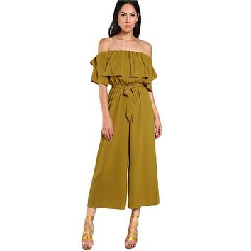 Sexy Flounce Culotte Jumpsuit Women Off Shoulder Self Tie Yellow Jumpsuits New Ruffle Half Sleeve Elegant Jumpsuit