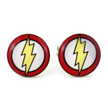 Lightning Bolt Stud Earrings Silver Tone EK13 Pop Art Posts Fashion Jewelry