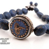 Wisdom eye brass bead and lapis lazuli beaded bracelet