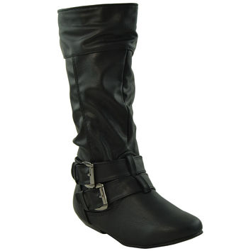 Girls Buckle Accent Mid Calf Boots Black