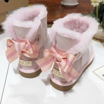 """""""UGG"""" Womens Fashion Wool Bow Snow Boots"""