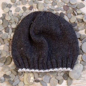 Men's Basic Beanie in Dark, Charcoal Gray with Light Gray Edging