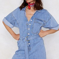 Play It Up Denim Romper