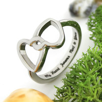 "Lovers Ring, Double Hearts Promise Ring ""My Heart Forever Next To Yours"""