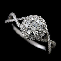 Diamond Pave Set Infinity Halo Platinum 950 Engagement Ring Mounting