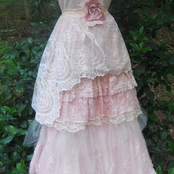 Blush lace dress tulle  wedding beaded bridesmaid rose boho  vintage  romantic small by vintage opulence on Etsy