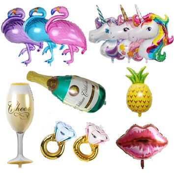 Hawaii Unicorn Party Flamingo Foil Balloons Big Helium Air Ballon for Happy Birthday Decorations Kids Adult Event Party Supplies