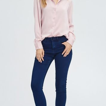 Day In Day Out Pink Washed Satin Long Sleeve Button Front Blouse Top